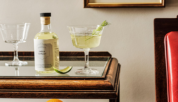 Dishoom India Gimlet served in a glass with Dill